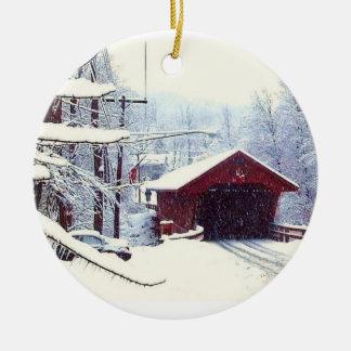 WINTER ON THE COVERED BRIDGE ornament