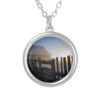 Winter on the farm silver plated necklace