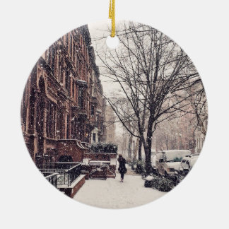 Winter On The Upper West Side Ceramic Ornament