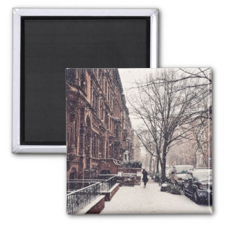 Winter On The Upper West Side Square Magnet