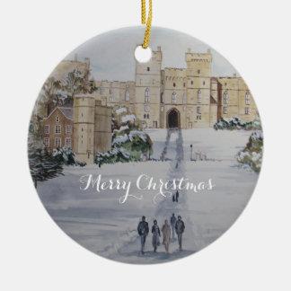Winter on Windsor Castle Landscape Painting Ceramic Ornament