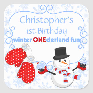 Winter One-derland First Birthday Snowman Mittens Square Sticker