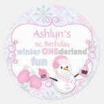 Winter One-derland First Birthday Snowman Mittens Round Stickers