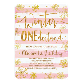 Winter ONEderland 1st Birthday Invitation Pink