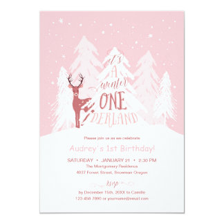 Winter Onederland 1st Birthday Party Invite Pink