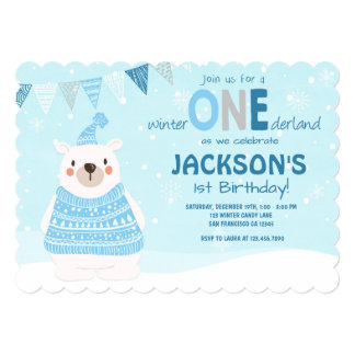 Winter ONEderland birthday invitation Boy Blue