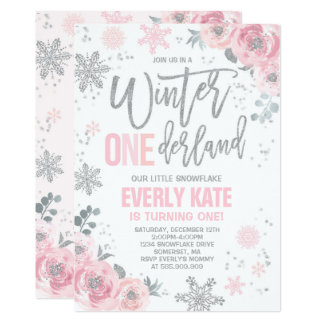 Winter ONEderland Birthday Invitation Pink Silver
