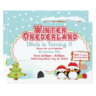 Winter ONEderland Birthday Invitations