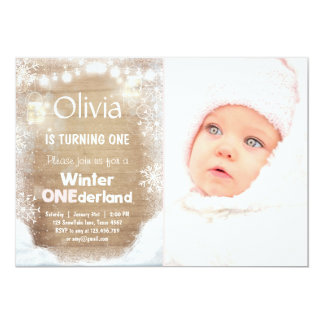 Winter Onederland birthday invite Snow pink Rustic