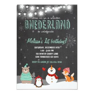 Winter ONEderland birthday party invitation blue
