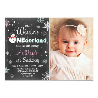 "Winter Onederland birthday party snowman Mint Pink 5"" X 7"" Invitation Card"