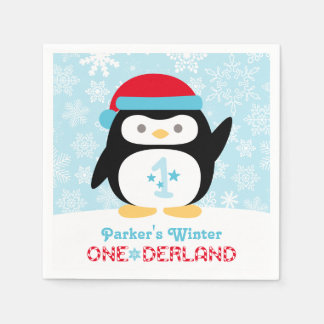Winter ONEderland Birthday | Penguin Party Napkins Disposable Napkins