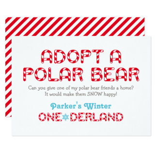 Winter ONEderland Birthday | Polar Bear Favor Sign Card