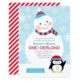 "Winter ONEderland Birthday | Snowman and Penguin 5"" X 7"" Invitation Card"