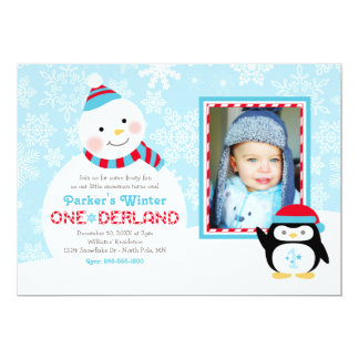 "Winter ONEderland Birthday | Snowman and Penguin 5"" X 7"" Invitation Card"