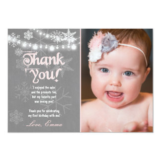 "Winter ONEderland Birthday Thank you Card 5"" X 7"" Invitation Card"