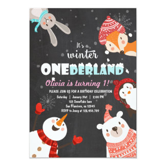 Winter ONEderland Birthday Woodland invitation