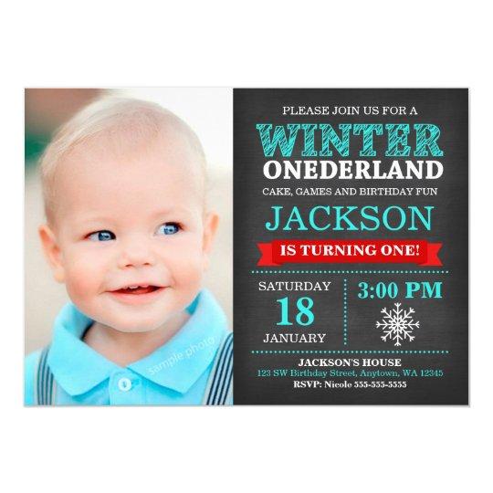 Winter ONEderland Chalkboard Boy First Birthday Card