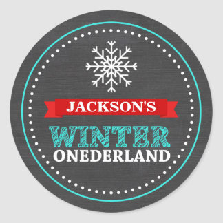 Winter ONEderland Chalkboard Boy First Birthday Classic Round Sticker