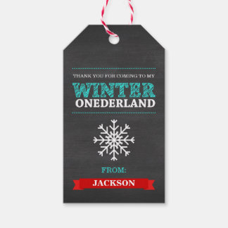 Winter ONEderland Chalkboard Boy First Birthday Gift Tags