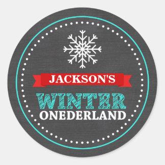 Winter ONEderland Chalkboard Boy First Birthday Round Sticker