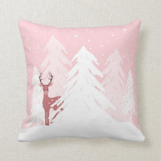 Winter Onederland First Birthday Deer Pillow Pink