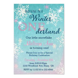 Winter Onederland First Birthday Invitaiton Card