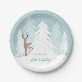 Winter Onederland First Birthday Paper Plate 7 Inch Paper Plate