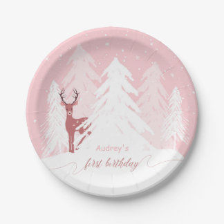 Winter Onederland First Birthday Pink Paper Plate 7 Inch Paper Plate