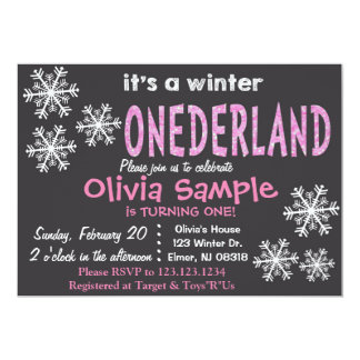 Winter ONEderland Invitation. Chalkboard. Card