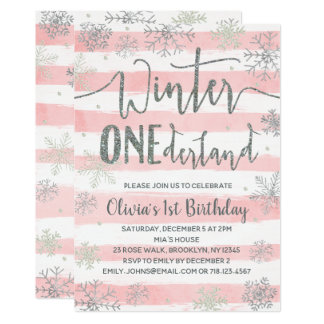 Winter ONEderland Invitations Girls Pink Silver