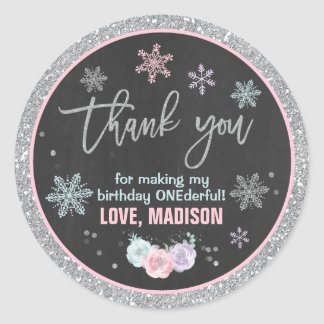 Winter ONEderland Party Favor Tag Sticker Seal