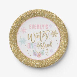 Winter ONEderland Pink And Gold Paper Plate