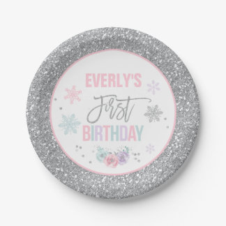 Winter ONEderland Pink And Silver Paper Plate