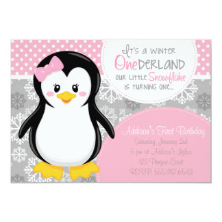 Winter ONEderland Pink Penguin Invitation