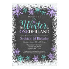 Winter ONEderland Purple Chalkboard 1st Birthday Card