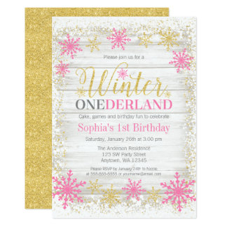 Winter ONEderland Snow Pink Gold 1st Birthday Card