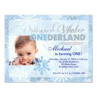 "Winter ONEderland Snowflake 1st Birthday Invite 4.25"" X 5.5"" Invitation Card"