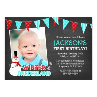Winter Onederland Snowman Boy 1st Birthday Card