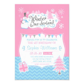Winter Onederland Snowman Pink Blue 1st Birthday Card