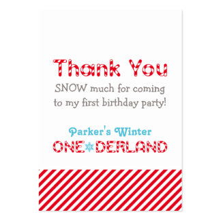 Winter ONEderland   Thank You Favor Tags Large Business Card