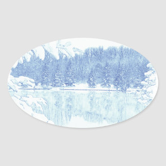 winter oval sticker