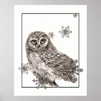 Winter Owl Bird Snowflakes Watercolor Graphic Art Poster
