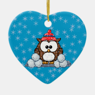 winter owl ceramic ornament