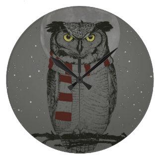 Winter owl clock