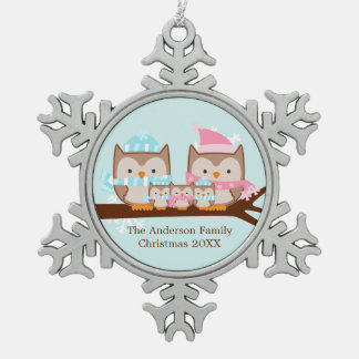 Winter Owl Family of Five Pewter Snowflake Ornament