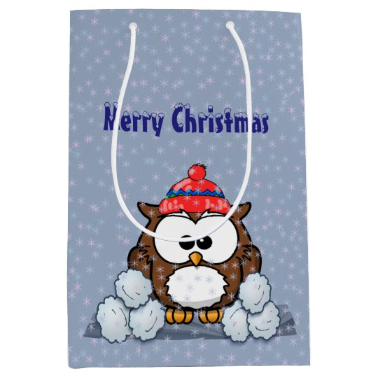 winter owl medium gift bag