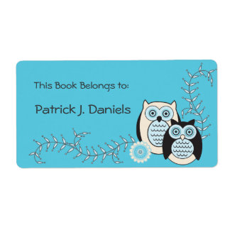 Winter Owls Bookplates Shipping Label