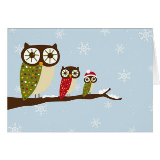 winter owls greeting card