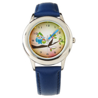 Winter Owls Lighting Stainless Steel Kids Watch